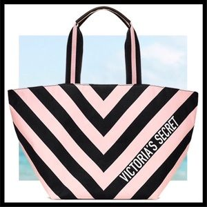 Victoria's Secret Big Striped Tote Pink & Black
